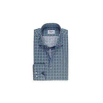 Stenstroms Fitted Long Sleeved Shirt Blue Brown Patterned