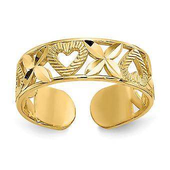 14kイエローゴールドポリッシュスパークルカットXと女性のための愛のハートのつま先リングジュエリーギフト - 1.2グラム