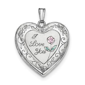 925 Sterling Silber hält 2 Fotos poliert und satin 24mm emailliert Rose mit Grenze Liebe Herz Medaillon Schmuck Geschenke für