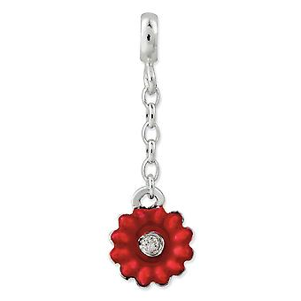 925 Sterling Silver Polished Red Enameled Flower With CZ Cubic Zirconia Simulated Diamond 1/2inch Dangle Enhancer Charm