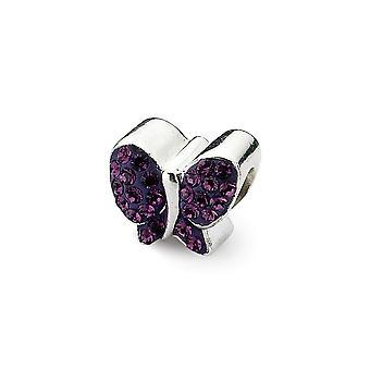 925 Sterling sølv polert refleksjoner lilla krystall Butterfly bead Charm