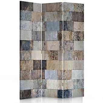 Divisor de habitación, 3 paneles, doble cara, giratorio 360, lona, ladrillos de mármol