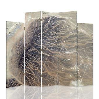 Dekorative Raumteiler, 5 Panels, Leinwand, strukturelle Abstraktion 3