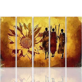 Cinque parti immagine su tela, Pentaptych, tipo C, guerrieri africani