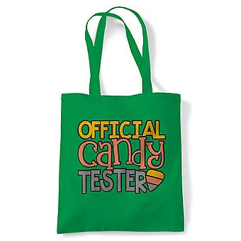 Official Candy Tester Tote | Halloween Fancy Dress Costume Trick Or Treat | Reusable Shopping Cotton Canvas Long Handled Natural Shopper Eco-Friendly Fashion