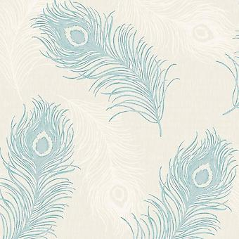 Viola Feather Blown Vinyl Wallpaper Teal and Cream Debona 40914