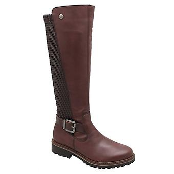 Remonte Brown Stretch Back Knee High Boot