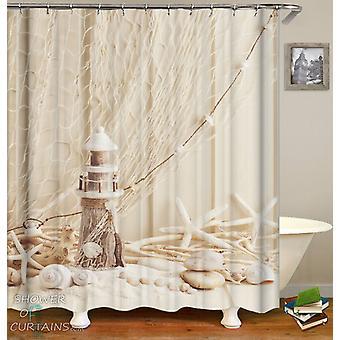 Decorative Starfish Seashells And Lighthouse Shower Curtain