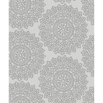 Rozet vinyl behang ornament Floral Mandala zilver Lace metallic Grey Holden