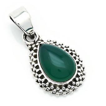 Amuleto de caneta corrente prata 925 Sterling Silver Green Onyx Green Stone (Não: MAH 134-14)