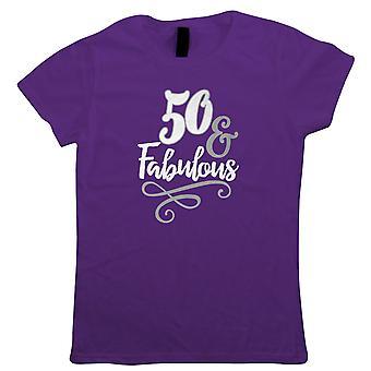 50 en fantastische Womens T-shirt | Gelukkige verjaardag feest ouder worden | Leeftijd gerelateerde jaar verjaardag nieuwigheid cadeau aanwezig | Verjaardag viering gift haar moeder