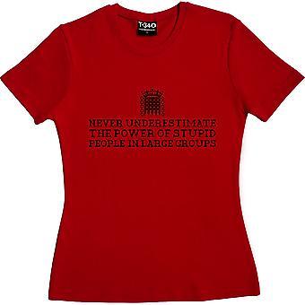 Ne sous-estimez jamais le pouvoir des gens stupides dans les grands groupes Red Women-apos;s T-shirt