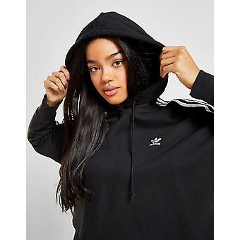 New adidas Originals Women's 3-Stripes Crop Overhead Hoodie Black