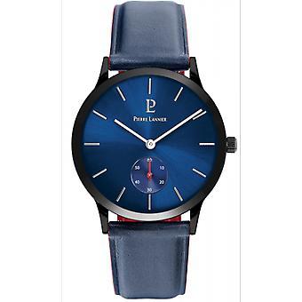 Se Pierre Lannier 222F366-stil bo tier Steel sort læder armbånd blå Cadran Soleill mænd