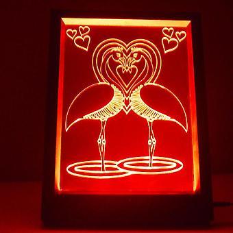 Flamingo Vogelliebhaber Farbe wechselnden RC LED Licht Spiegelrahmen