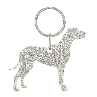 Holographic Silver Great Dane Style 2 Glitter Acrylic Keyring