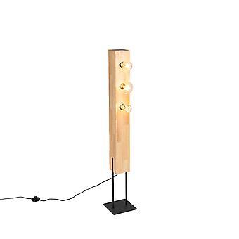 QAZQA País lâmpada de chão preto com madeira de 3 luzes - Sema