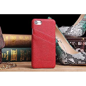 Pour iPhone 8,7 Case,Elegant Deluxe Snake Pattern Protective Leather Cover, Rouge