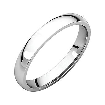 14k White Gold 3mm Polished Light Comfort Fit Band Ring  Size 6 Jewelry Gifts for Women - 2.6 Grams