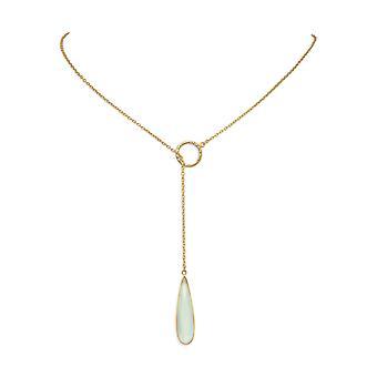 24 tommers 14k gullbelagt 925 sterling sølv lariat stil halskjede fasettert chalcedony dråpe smykker gaver til kvinner