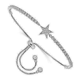 925 plata esterlina Rhodium plateado CZ Cubic Zirconia simulado diamante estrella ajustable pulsera joyería regalos para las mujeres