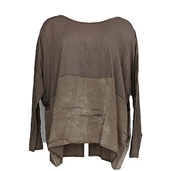 Anybody Women's Top Cozy Knit Oversized Long Sleeve w/ Satin Beige A367657