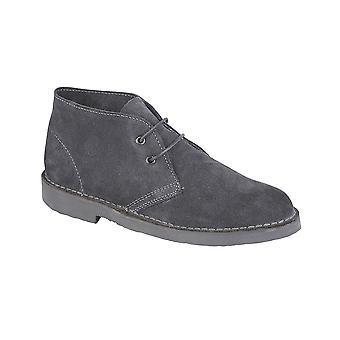 Roamers Dark Grey Real Suede Desert Boot Unlined Tpr Sole
