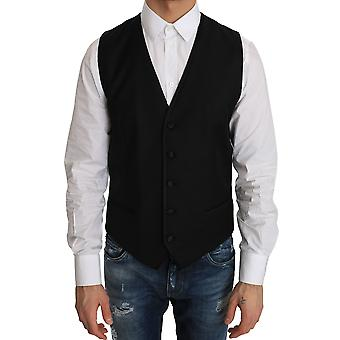Dolce & Gabbana Black Wool Silk Dress Waistcoat