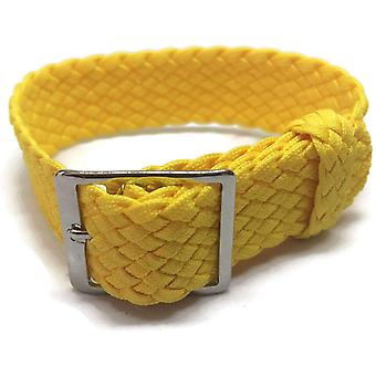 Perlon watch strap yellow 20mm with polished stainless steel buckle