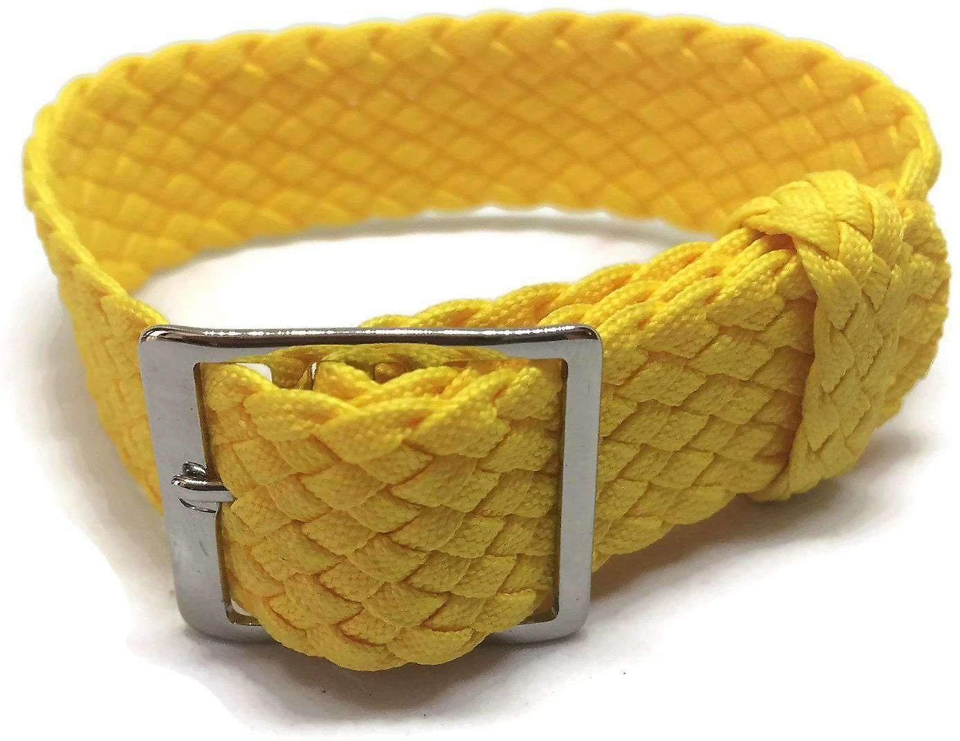 Mesh fabric watch strap yellow 20mm with polished stainless steel buckle