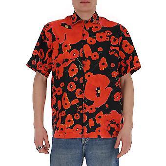 Les Hommes Lis301408p9005 Men's Black/red Cotton Shirt