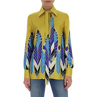 Valentino Tb3ab16d54eym8 Women's Yellow Silk Shirt