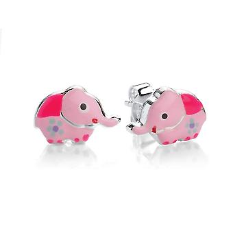 David Deyong Children's Sterling Silver Pink Elephant Stud Earrings