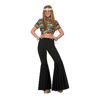 Womens Black Bell Bottom Fancy Dress Trousers Flares (10-14)