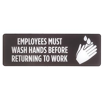 Employees Must Wash Hands Self-Adhesive Sign, 2-pack