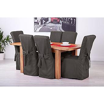 Slate Grey Linen Look Fabric Upholstered Slipcovers for Scroll Top Dining Chairs - 6 Pack