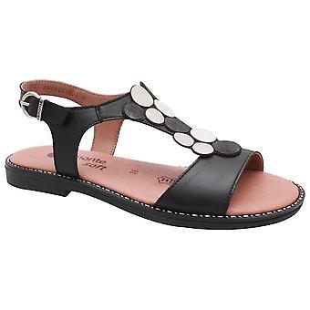 Remonte Black Open Toe T-bar Sandal With Hook & Loop Ankle Strap