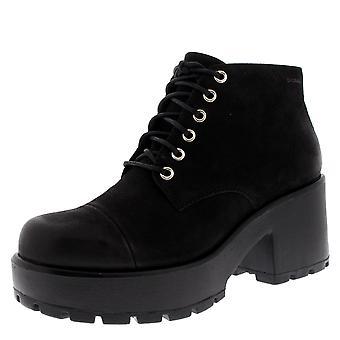 Womens Vagabond Dioon Fashion Block Heel Nubuck Platform Black Ankle Boot