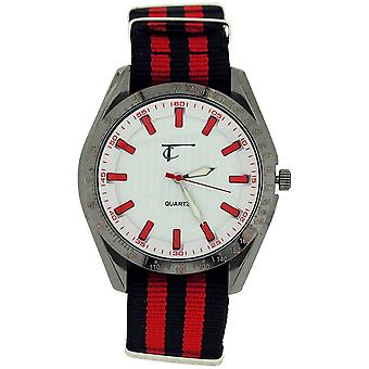 Time Collection Gents White Quartz Dial, Black and Red Fabric Strap Watch TC41B
