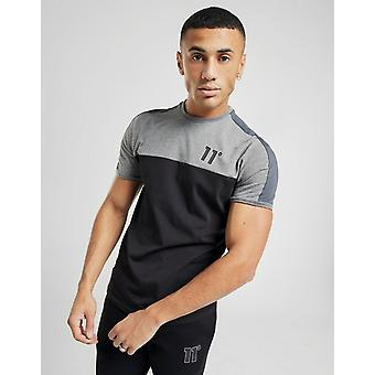 New 11 Degrees Men's Panel Short Sleeve T-Shirt Black
