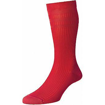Pantherella Ickburgh katoen Lisle sokken-Scarlet Red