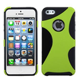 Asmyna Gummerade Cragsman Mixy Mål för Apple iPhone 5s / 5 - Grön / Svart