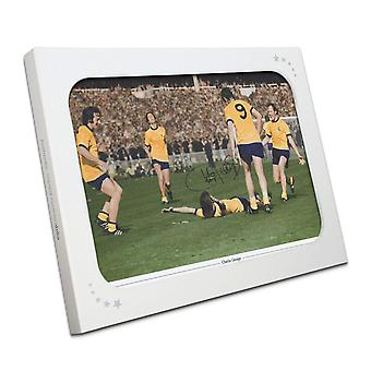Charlie George signerte Arsenal 1971 FA Cup Final Photo. I gaveeske