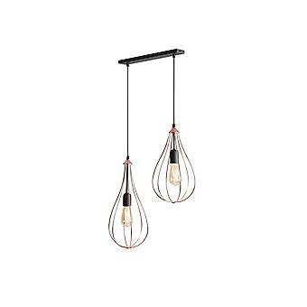 Octans Suspension Lampe Couleur Noire, Cuivre en métal, L53xP21xA95 cm
