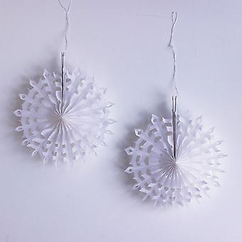 Mini White Snowflake Hanging Decorations Set of 2 Christmas Décor