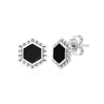 أسود أونكس شقة شريحة الأقراط الأزرار مسمار في الفضة الاسترليني 271E021001925