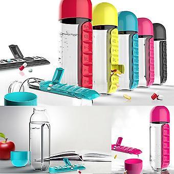 Wasserflaschen Kunststoff-Trinkflasche mit Pille Reise-Box