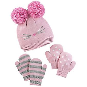 Simple Joys by Carter's Baby Girls' Toddler Hat and Mitten Set, Pink Cat, 2T-5T