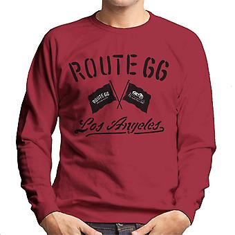 Route 66 motorfiets vlaggen Los Angeles heren Sweatshirt