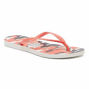 Havaianas Slim Camu Womens White / Coral Flip Flops